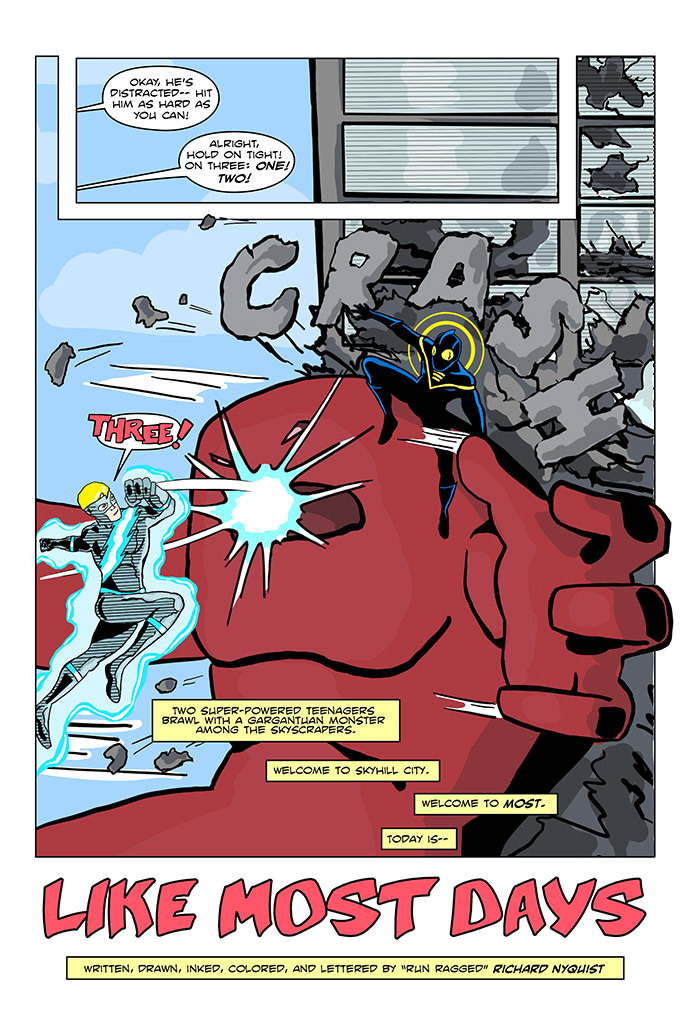 Only one giant red monster was harmed in the making of this comic.